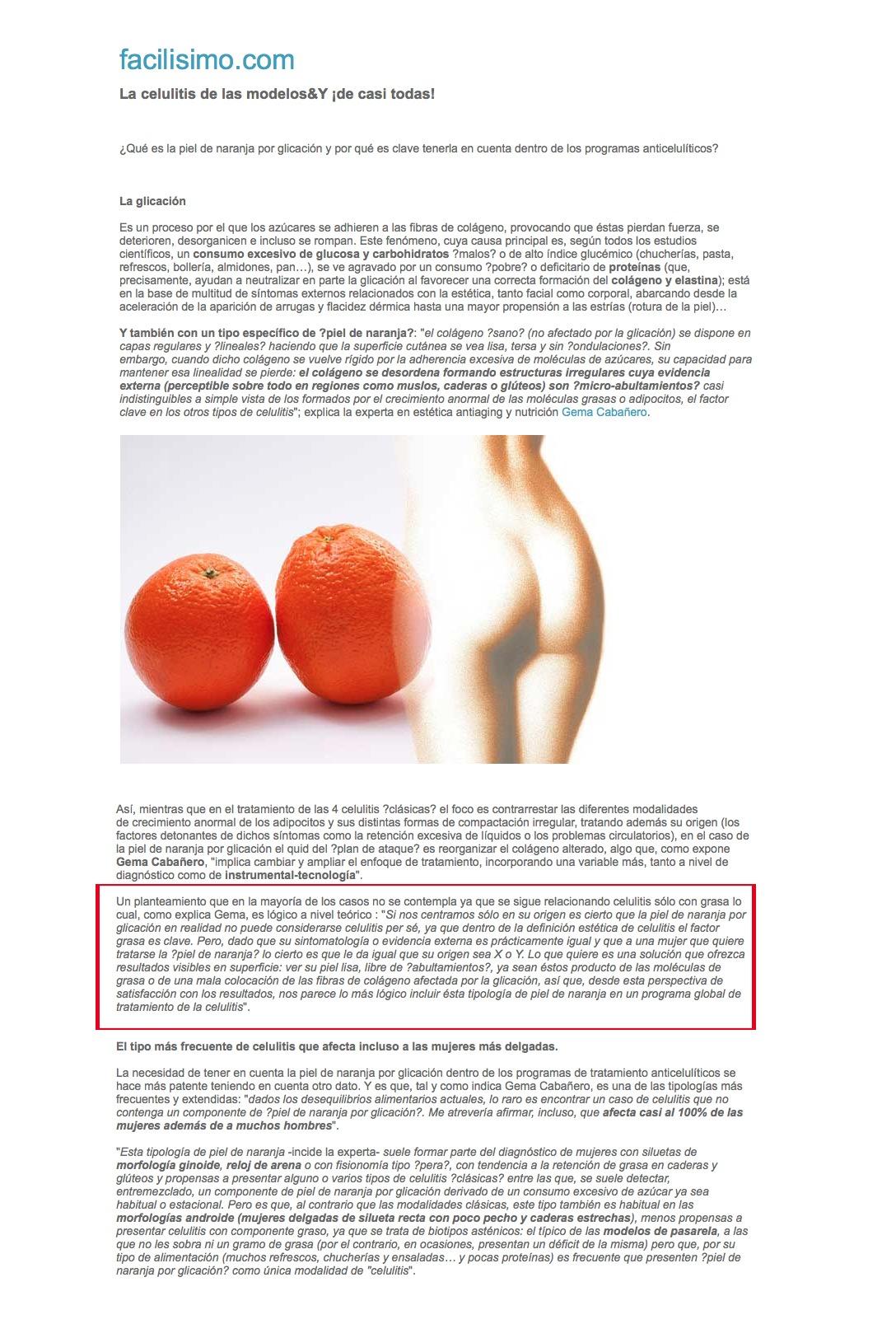Facilísimo Gema Cabañero Celulitis