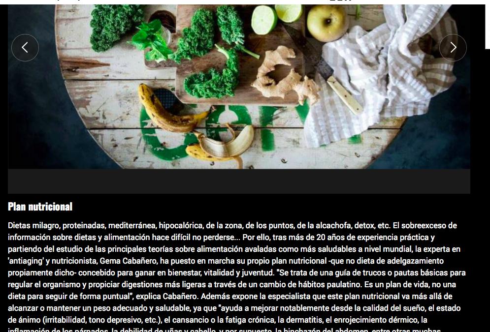 Plan Nutricional de Gema Cabañero en el Mundo