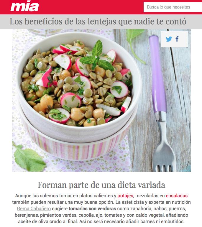 Consejos de nutrición en Mía